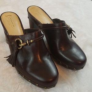 Coach 'Shasha' sz 8 brown leather platform clogs